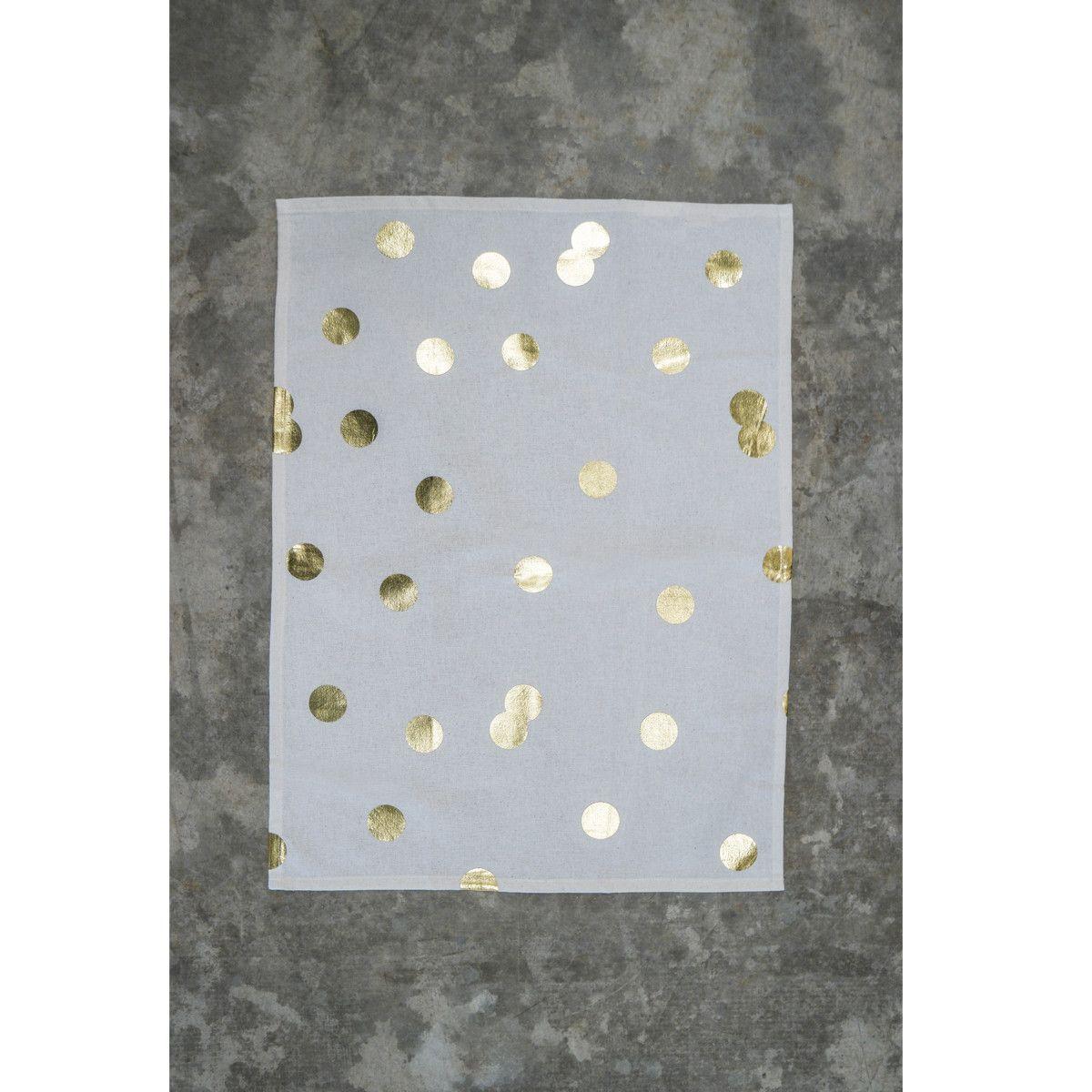 Gold Polka Dot Tea Towels (Set of 2)