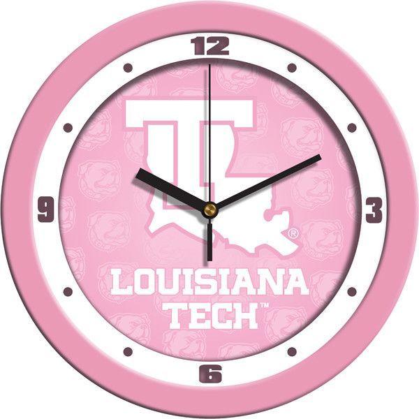 Ladies Louisiana Tech Bulldogs - Pink Wall Clock