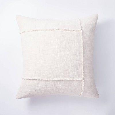 Pieced Woven Cotton Pillow Cream Threshold Designed With Studio Mcgee Cream Throw Pillows Square Throw Pillow Cotton Pillow