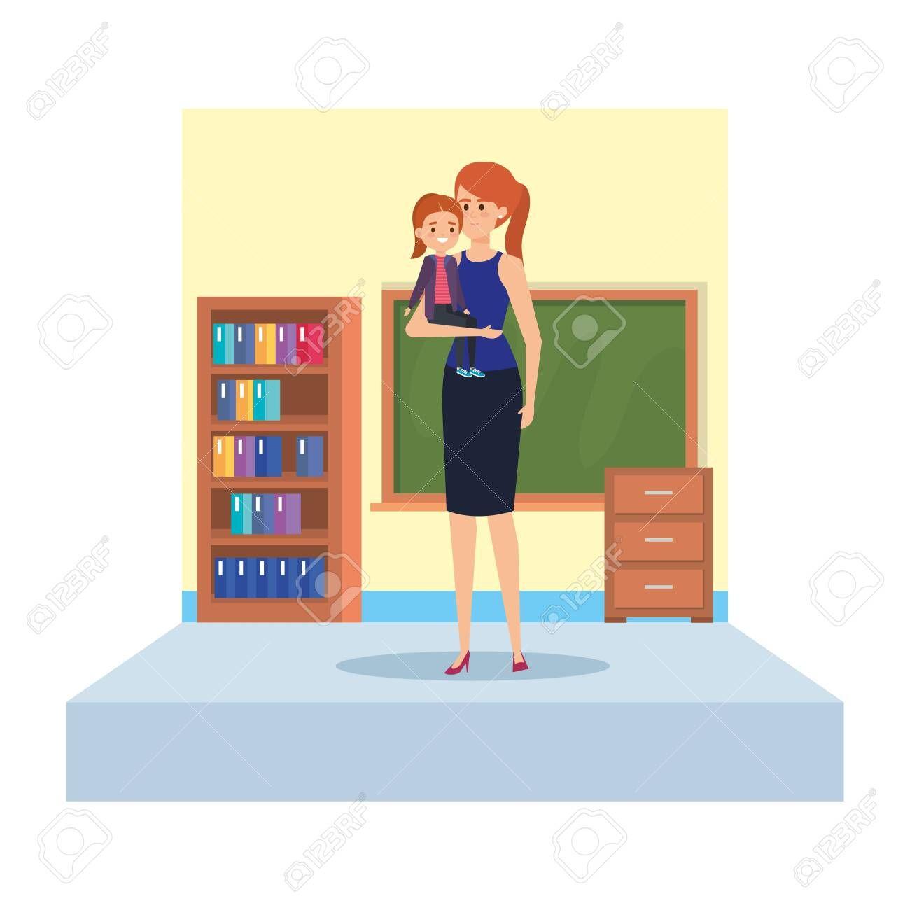 female teacher and little girl in school classroom vector illustration design , #Sponsored, #girl, #school, #female, #teacher, #illustration