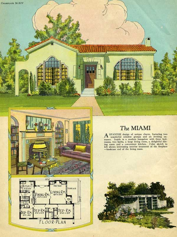 Spanish style cottage 1925 Radford Miami House Plan