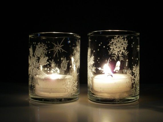 4 Glass Candle Holders . Hand Engraved With 'Floating Flakes'