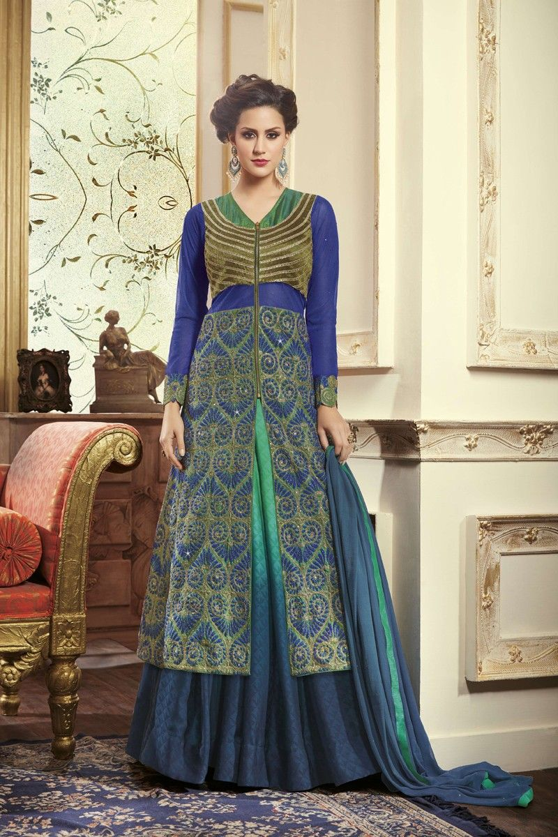 Blue designer kurta with shaded ghaghra online store pinterest