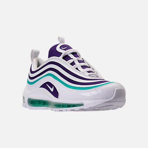 outlet store edd69 dfcb6 Three Quarter view of Women s Nike Air Max 97 Ultra 2017 SE Casual Shoes in  White Court Purple Emerald Green