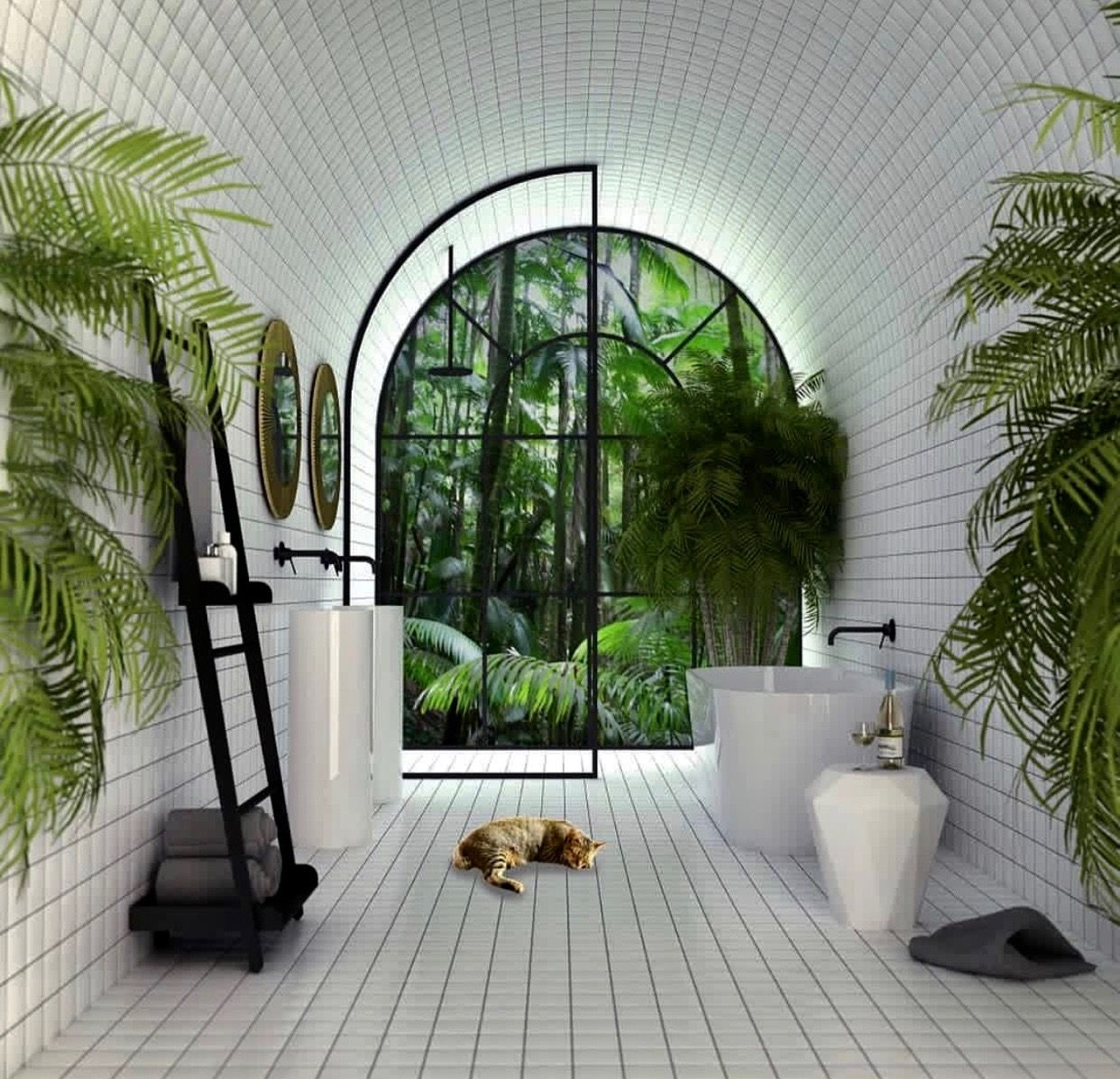 salle de bain cocooning plantes et blanches bathroom. Black Bedroom Furniture Sets. Home Design Ideas
