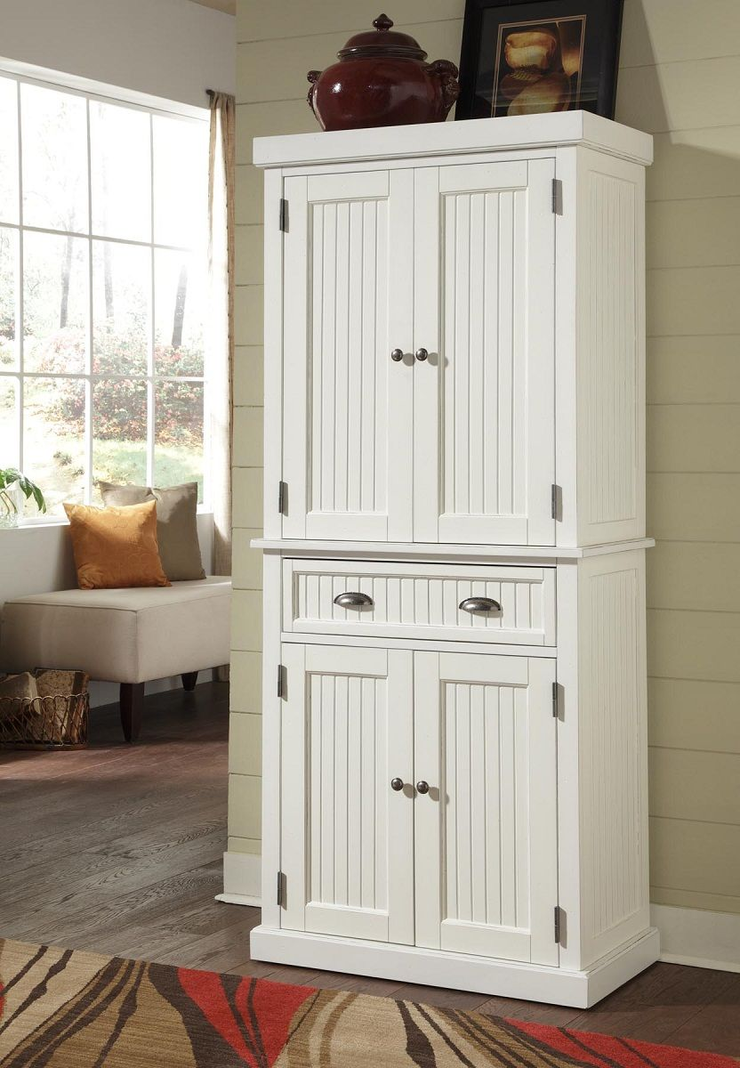 home styles nantucket pantry sanded and distressed white home styles pantry storage cabinet on kitchen cabinets pantry id=98998