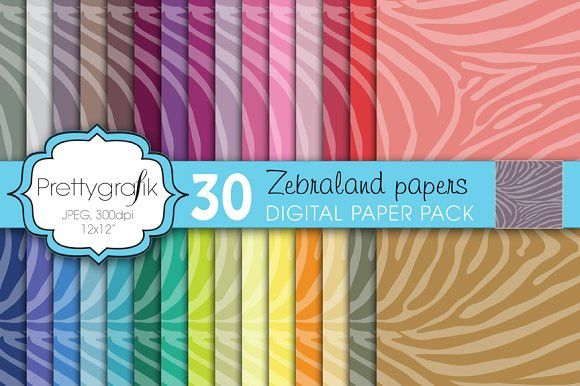 zebra animal print digital paper. Patterns. $3.00