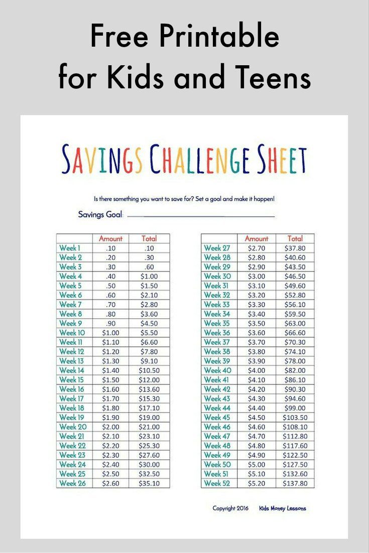 Challenge Kids and Teens to Save Their Money [Free Printable]