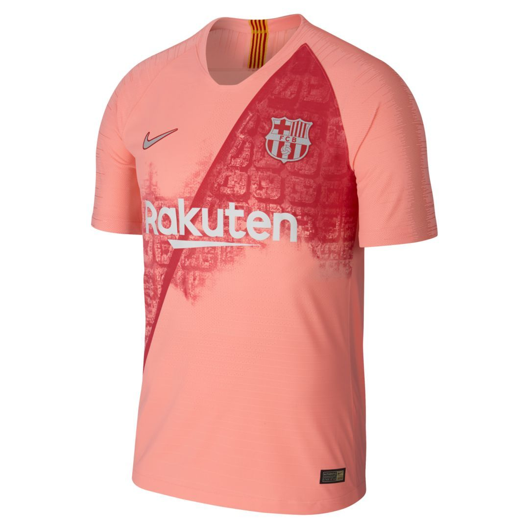 dbf080c77 2018 19 FC Barcelona Vapor Match Third Men s Soccer Jersey Size L (Light  Atomic Pink)