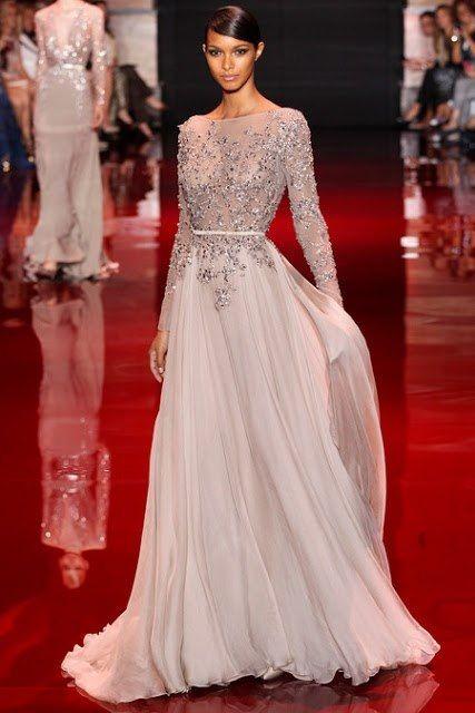 Reception Dress Idea. Keep: Blush chiffon and Grey details. Add: Blush lining top.
