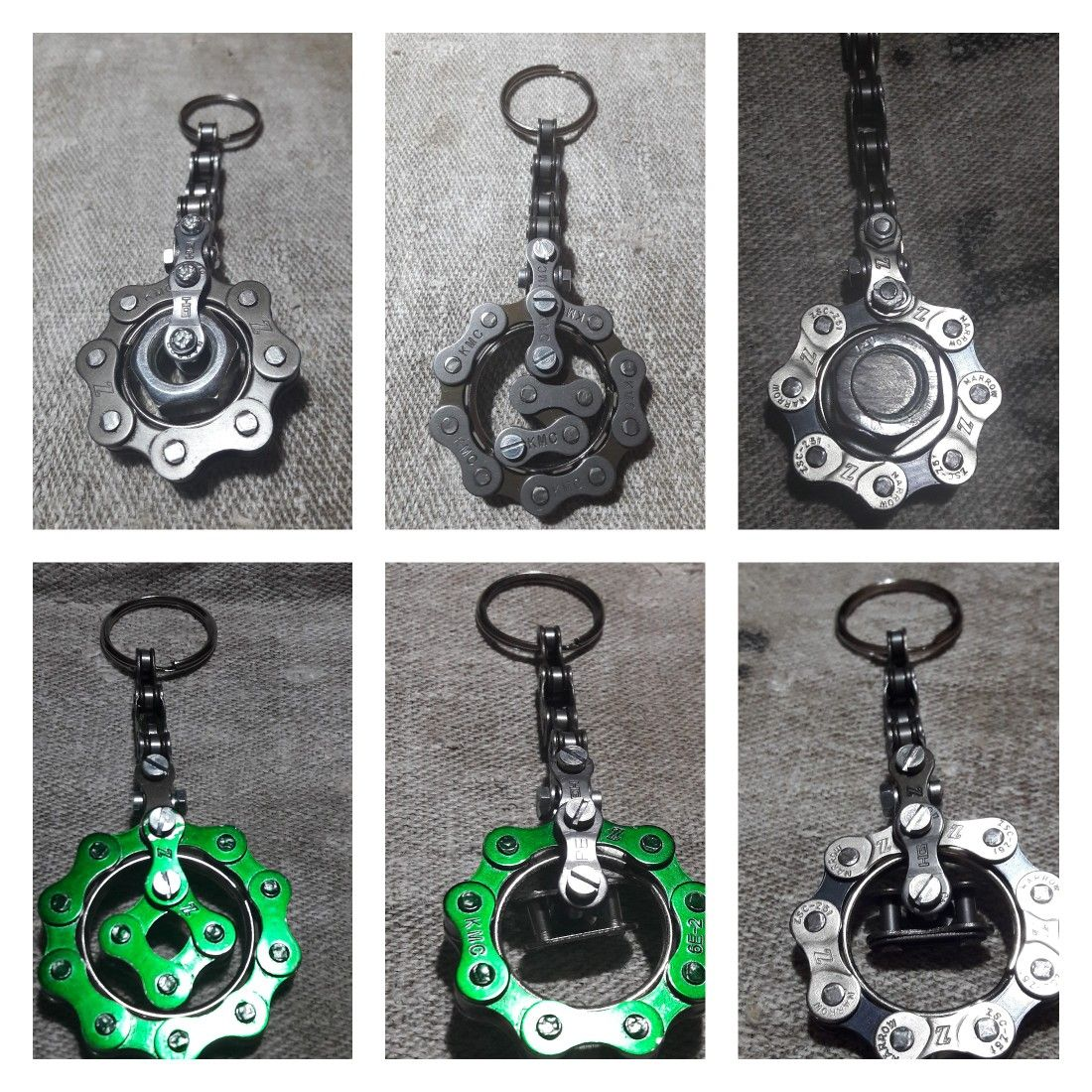 Key Ring Key Holder Made Of Bicycle Chains With Different Metal