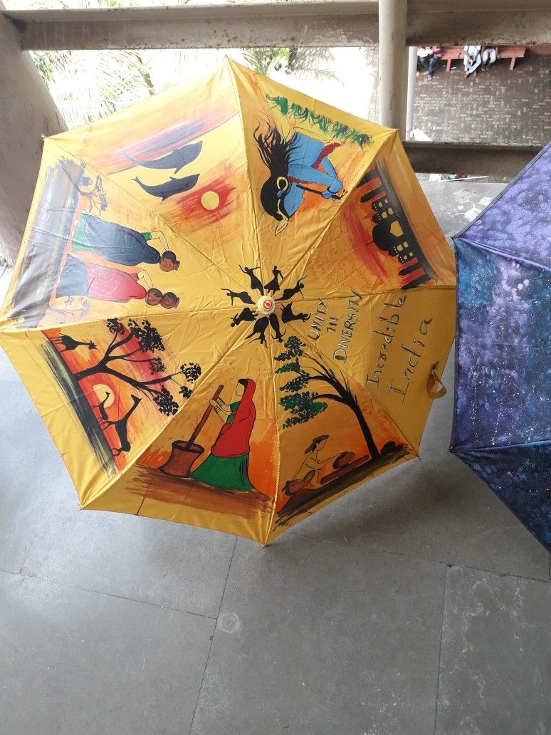 Umbrella Painting Competition Beautiful Art On Umbrella Drawing Unity In Diversity Home Decor Beautiful Umbrella Painting Diy Painting Painting Competition