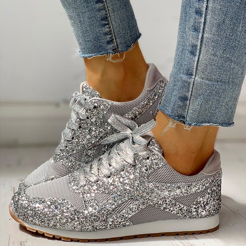 Glitter sneakers, Lace up trainers