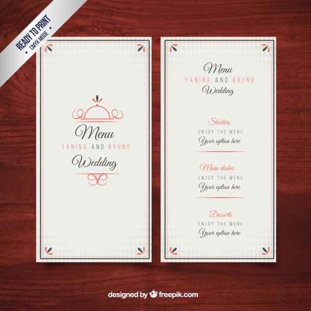 Elegant wedding menu template Free Vector Wedding template - dinner menu templates free