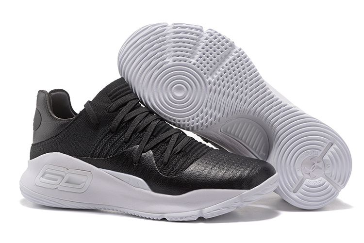 Fresh Under Armour Curry 4 Low White Black Basketball Shoe For Sale