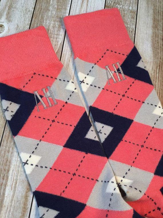 e7bc00bbe307 Groom socks - Coral and Navy Argyle -Mens dress socks - Groomsmen ...