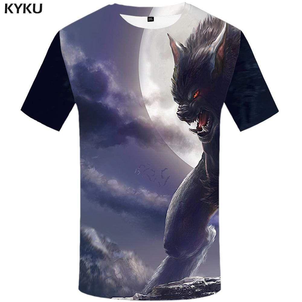 Photo of KYKU Wolf T shirt Men Animal Tshirts Print Funny Tshirt Anime Harajuku T-shirt 3d T shirts Funny Mens Fashion Short Sleeve – 4XL