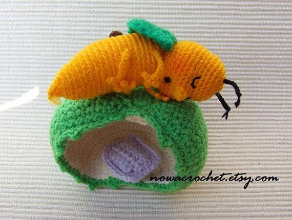 Sleeping apple worm - amigurumi PDF crochet pattern | Gusanito, Hilo ...
