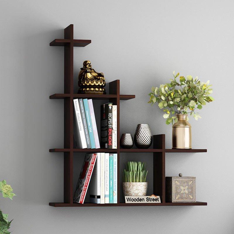 Buy Levant Wall Shelf Walnut Finish Online In India Wooden Street Wall Shelves Wooden Street Shelves