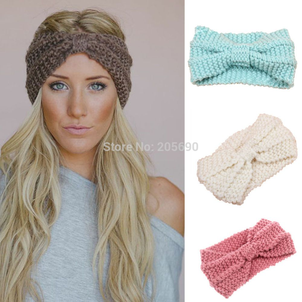 2015 nuevas mujeres de punto de ganchillo hairband diadema new womens knit headband crochet winter warmer lady hairband hair band headwrap baditri Image collections
