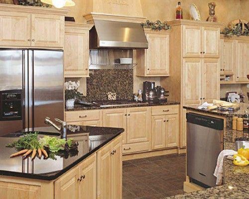 Maple Kitchen Cabinets with Granite Countertops | Maple ... on Maple Cabinets With Black Countertops  id=68278