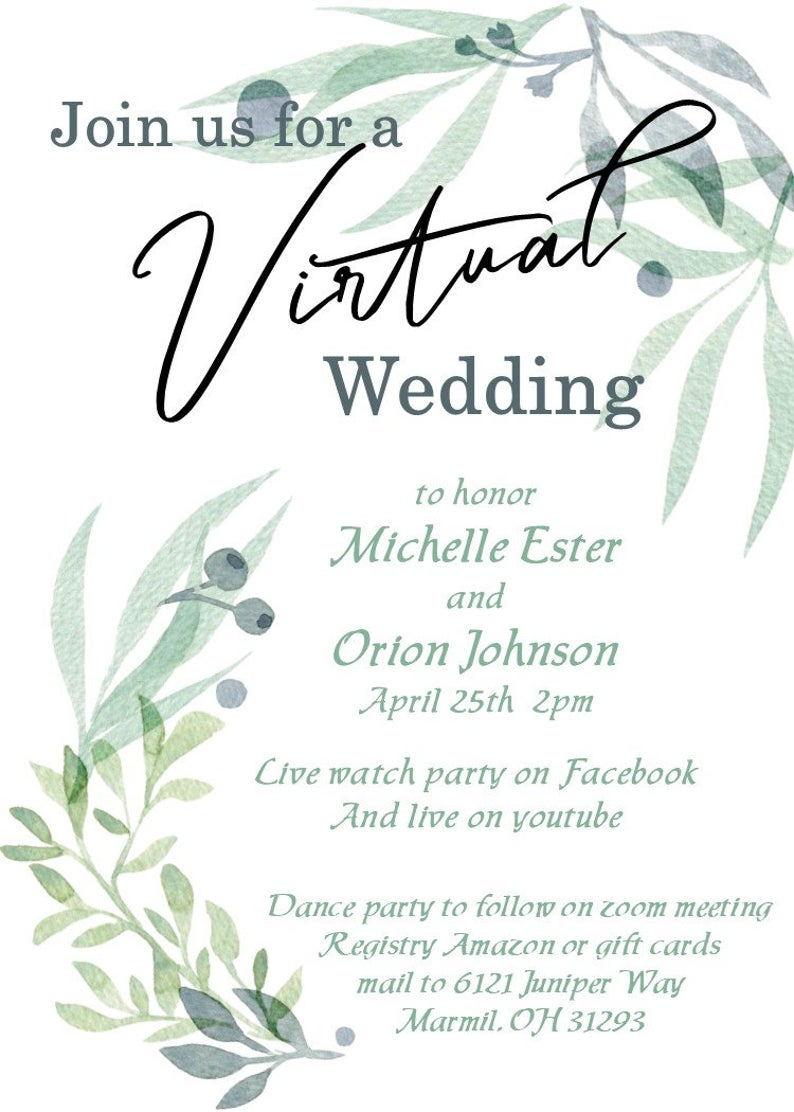 Virtual Rustic Wedding Invitation Eucalyptus Social Distancing Etsy In 2020 Eucalyptus Wedding Invitation Wedding Invitations Rustic Wedding Invitations
