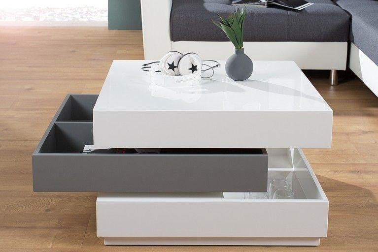 Exklusiver Design Couchtisch MULTILEVEL weiß grau Hochglanz drehbar - designer couchtische modern ideen