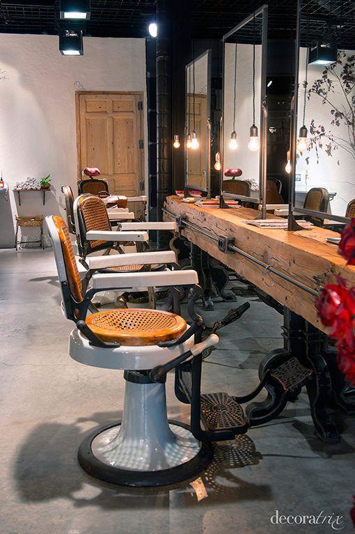 Zona de corte en el sal n de belleza de isaac salido en madrid vintage moderno pinterest - Muebles mariano madrid ...