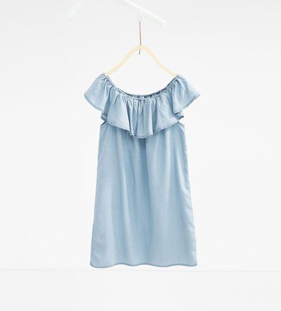 ZARA - ENFANTS - Robe en jean à volant   Shopping Emma   Pinterest