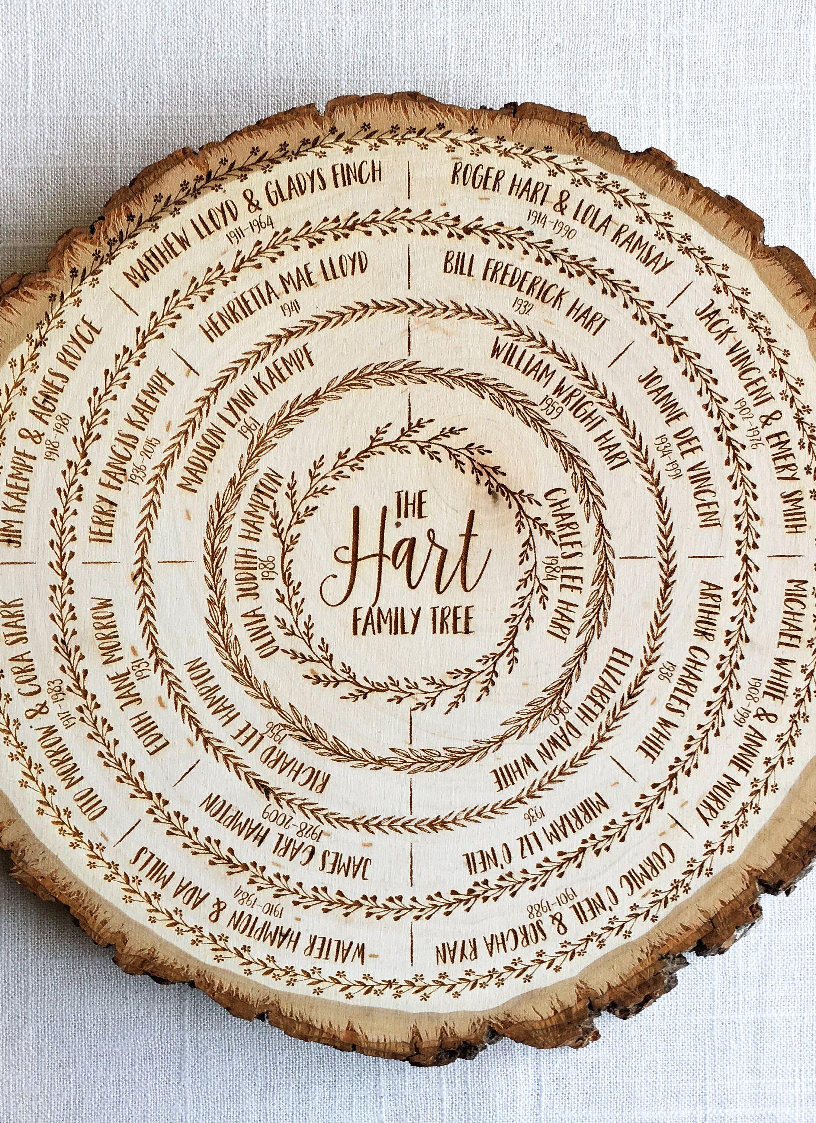 Family tree wood slice art genealogy chart custom ancestry