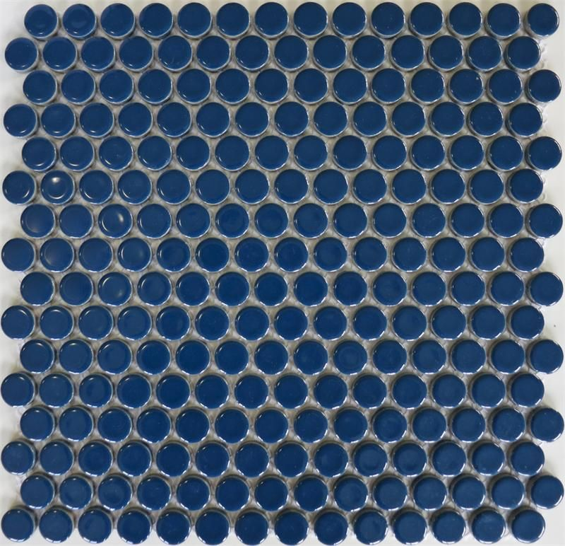 Penny Round Backsplash: Blue Penny Tile Mosaic ModDotz New Navy Porcelain Penny