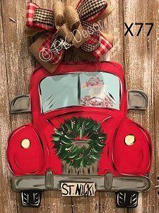 X77 Santa Clause Truck Door Hanger Christmas Truck