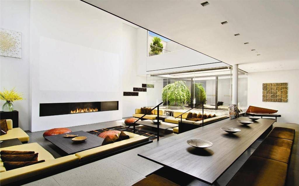 Awesome Modern Japanese Interior Design Large Living Room With Fireplace And Dining Long Tea