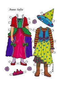 Karen`s Paper Dolls: Anne Sofie 1-4 Paper Doll to Print in Colours. Anne Sofie 1-4 påklædningsdukke til at printe i farver.