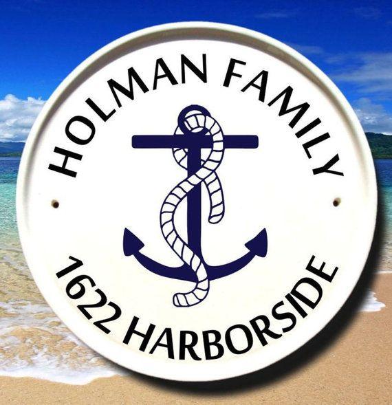 Nautical Address Sign Anchor Decor Beach House Plaques Custom Outdoor Name Signs Marker Ceramic Plaque Maritime