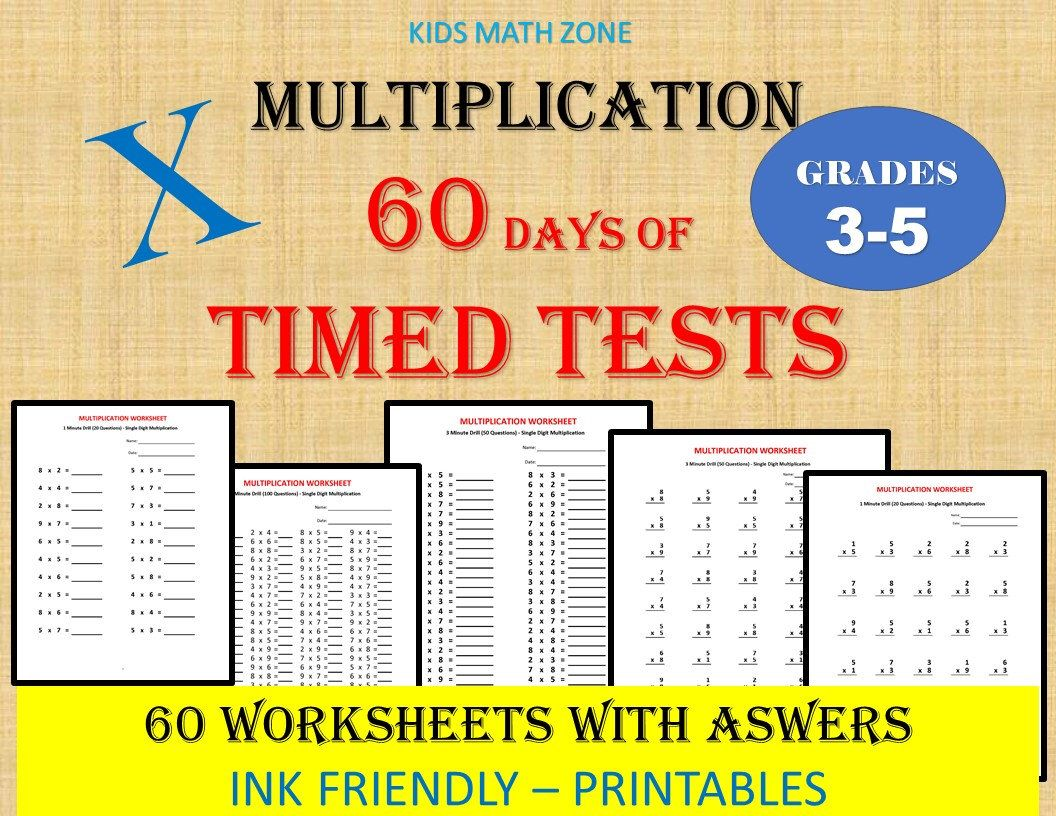 Multiplication Math Drills 60 Days Of Timed Tests Single