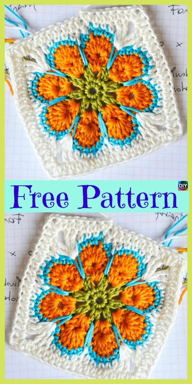 10 Beautiful Crochet Granny Squares - Free Patterns #grannysquares