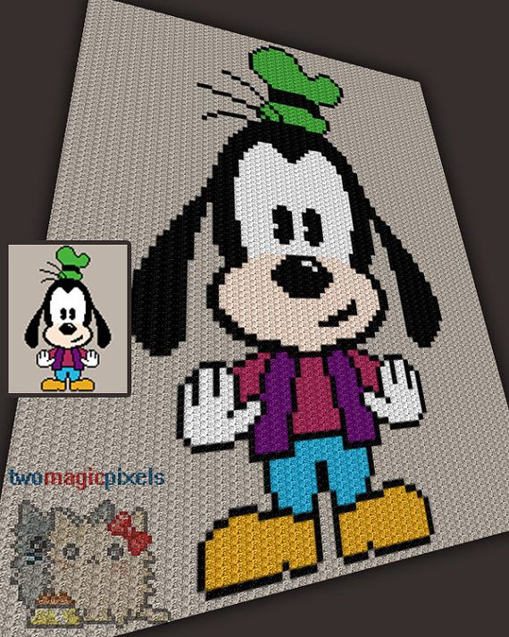 Baby Goofy inspired crochet graph/pattern JPG by TwoMagicPixels ...