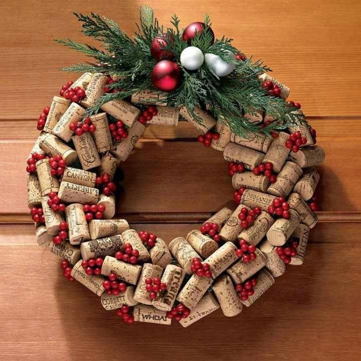 Christmas Wreath Made Of Cork