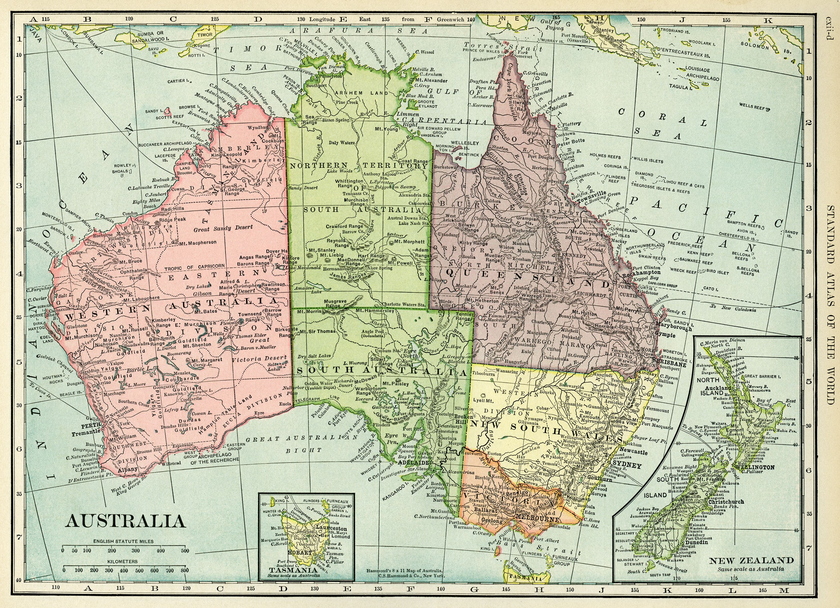 New Zealand Map Australia.C S Hammond Map Antique Map History Geography Australia Old Map