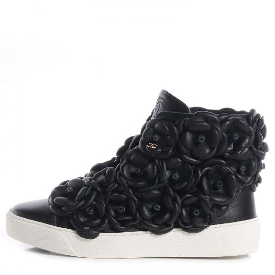 86298a0b42ed CHANEL Calfskin Camellia High Top Sneakers 36 Black   Sneakers ...