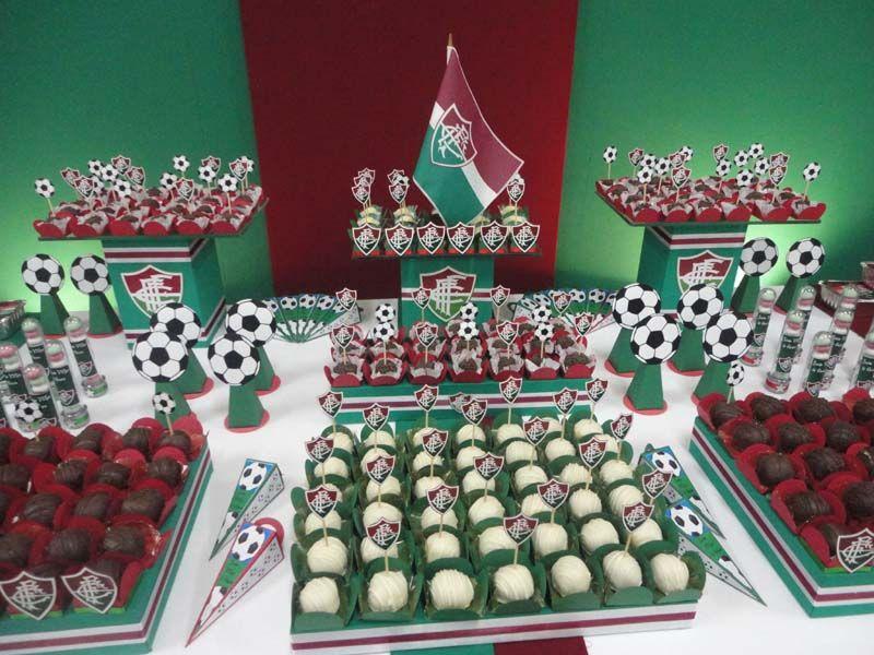 6cd32d781e7 Detalhes - mesa com doces - Fluminense Festa Infantil Futebol, Festa De  Futebol, Aniversário