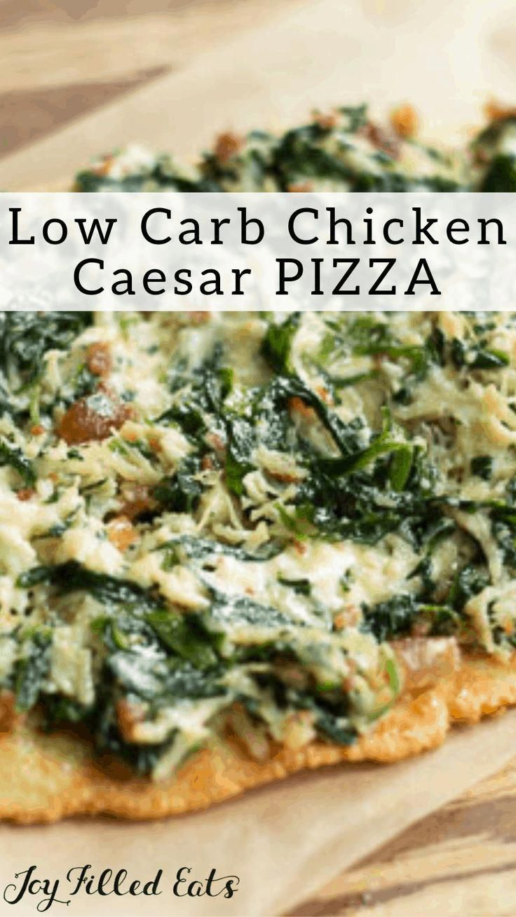 Chicken Caesar Bacon Pizza - Low Carb, Keto, Gluten-Free, Grain-Free, THM S - This is the perfect p