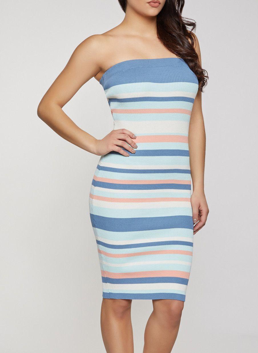 Strapless Striped Print Ribbed Sleeveless Bodycon Dress Midi Dress Tube Midi Dress Midi Dress Bodycon Mid Length Dresses [ 1234 x 904 Pixel ]