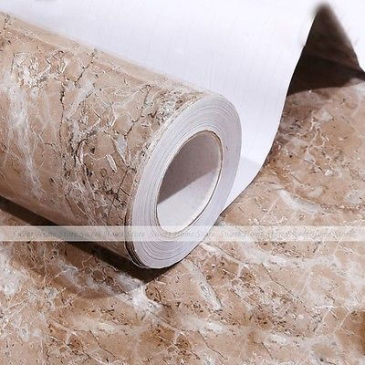 Brown Marble Pvc Contact Paper Self Adhesive Kitchen Tiles