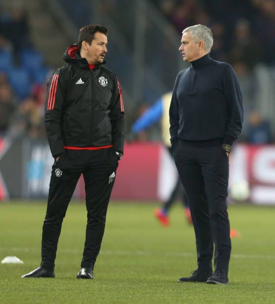 Manager Jose Mourinho And Assistant Manager Rui Faria Of Manchester United Watches The Warm Up Ahead Of Th Manchester United Manchester United Watch Manchester