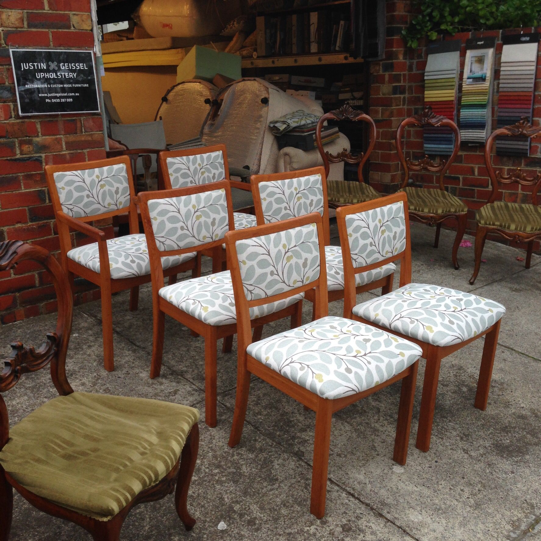 New Upholstery For These Parker Furniture Dining Chairs In Warwick Fabric,  Gosford Seafoam.