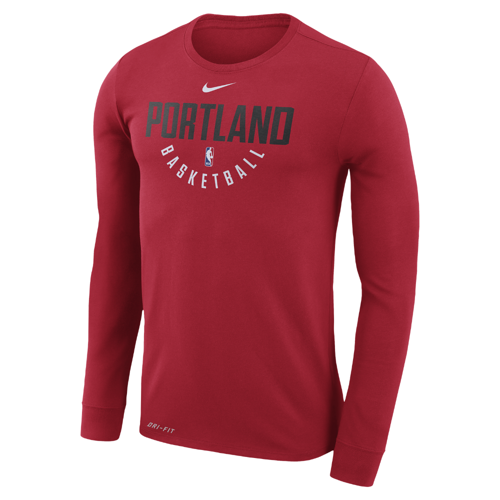 Men's Nike Red Portland Trail Blazers Practice Long Sleeve Performance T Shirt