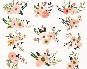Rustic Flowers Clipart Floral By Graphikcliparts