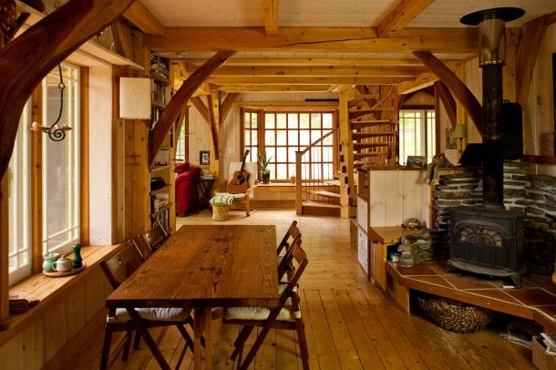 Small timber frame home dining room seriously spacey for Small timber frame cottage